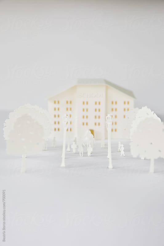 White on white, back to school concept by Beatrix Boros for Stocksy United
