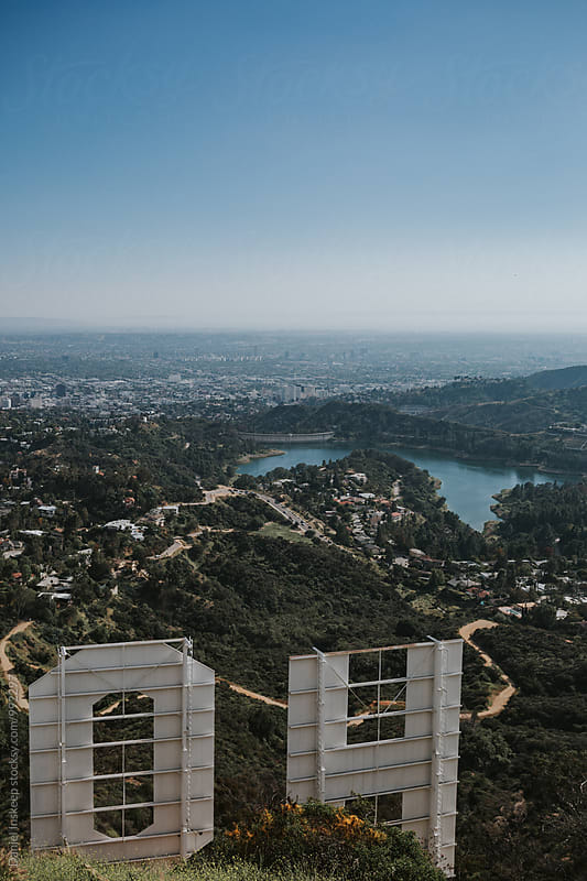 Hollywood Reservoir Behind the Hollywood Sign by Daniel Inskeep for Stocksy United