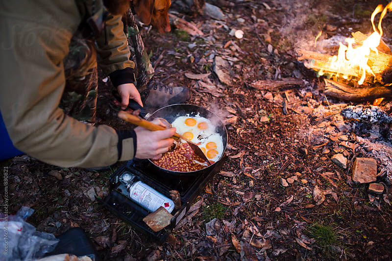 Camping breakfast by Reece McMillan for Stocksy United
