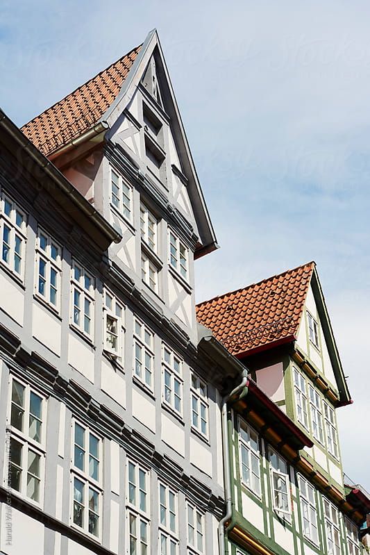 Gables of half-timbered houses by Harald Walker for Stocksy United