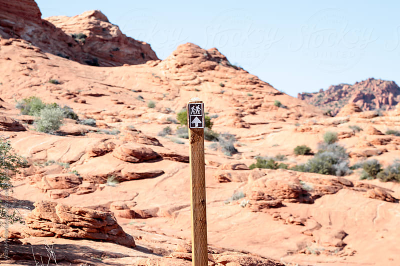 Hiking Sign in the Desert  by Abby Mortenson for Stocksy United