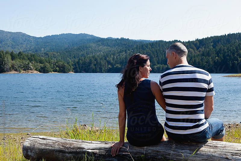 Mature couple enjoying each other by Tanya Constantine for Stocksy United
