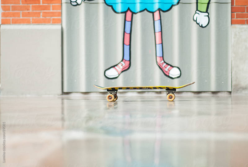 Skateboard and Drawn Legs by Lumina for Stocksy United