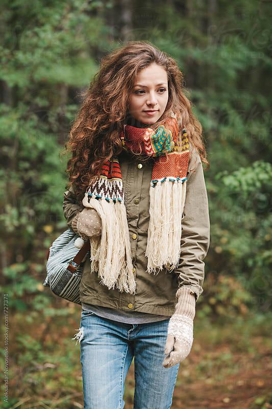 Beautiful woman walking in the foreset by Aleksandar Novoselski for Stocksy United