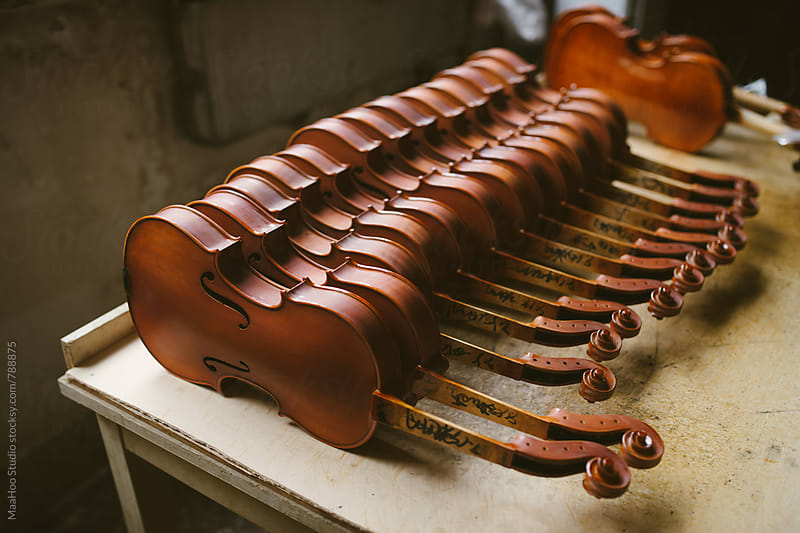 Unfinished violins without strings in a workshop by Maa Hoo for Stocksy United