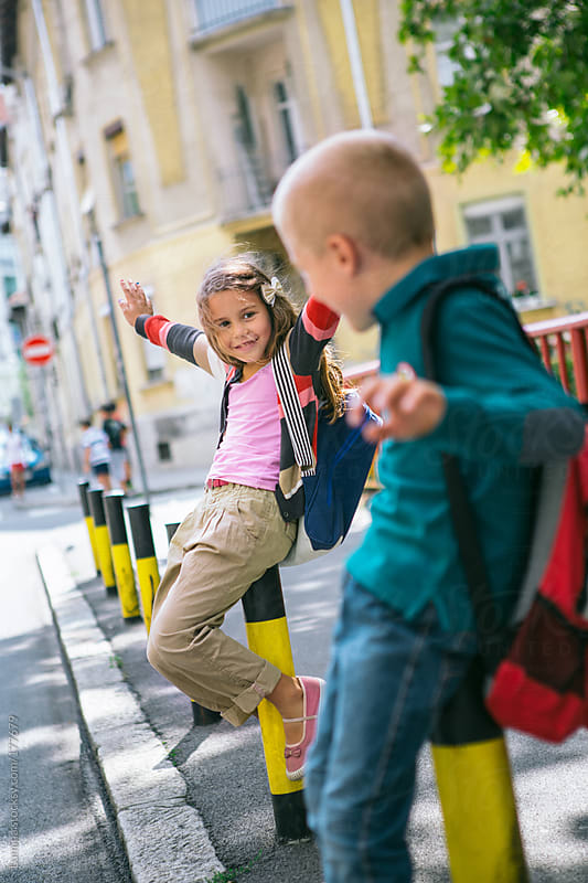 Boy and Girl Going to School by Lumina for Stocksy United