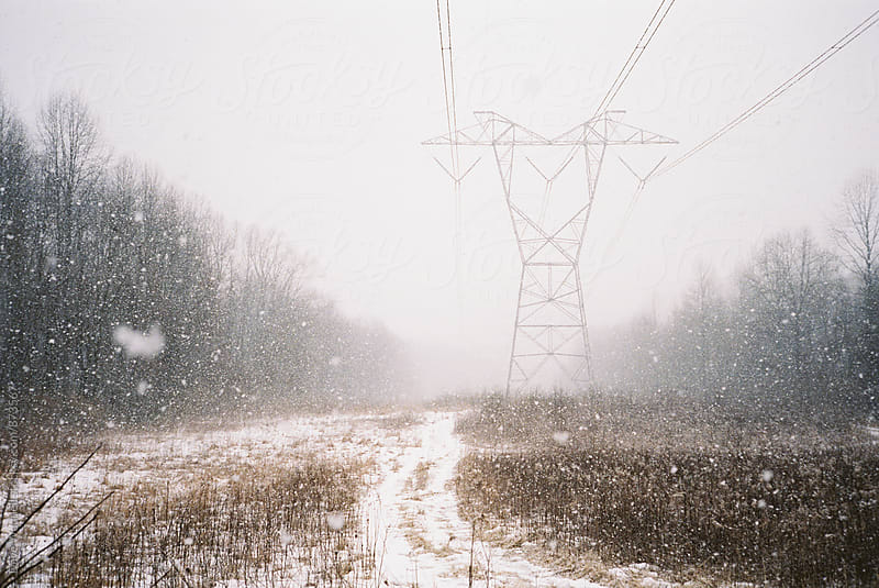 Winter Powerlines by Dave Waddell for Stocksy United