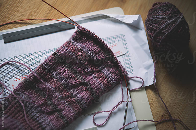 purple sock in progress by Samantha Wesselhoft for Stocksy United