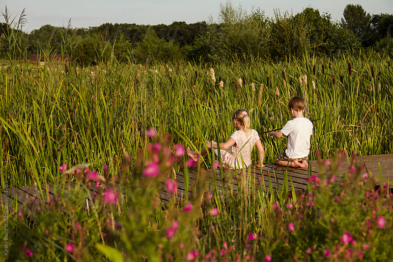 Boy and girl on boardwalk in reeds in nature reserve by Kirsty Begg for Stocksy United