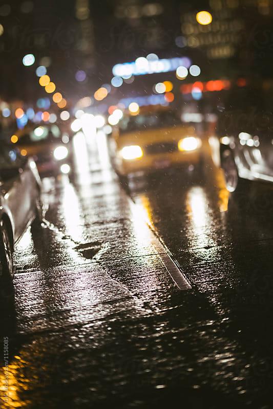 New York street scene at night with rain