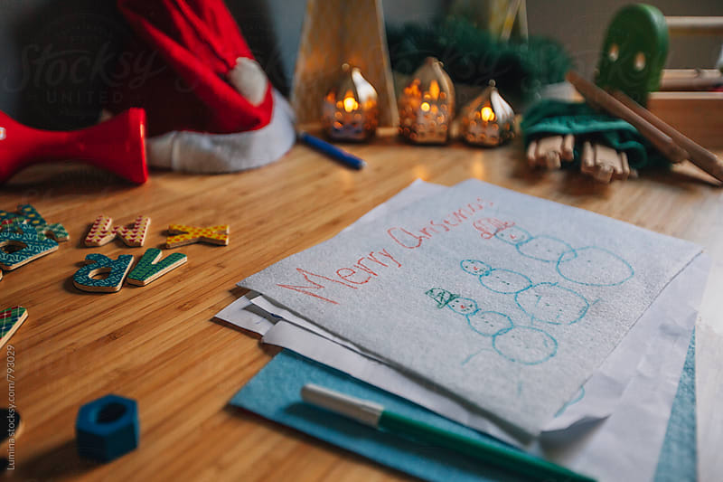 Drawing of Snowmen on a Child's Desk by Lumina for Stocksy United