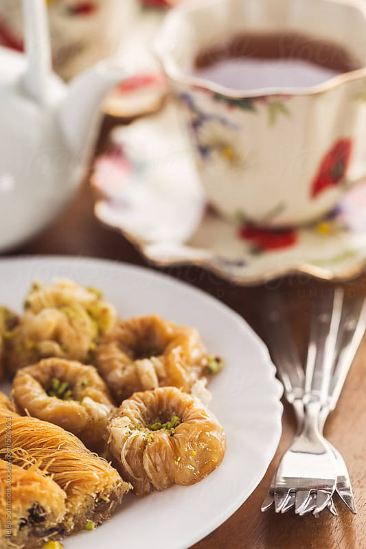 Baklava and Tea by Helen Sotiriadis for Stocksy United