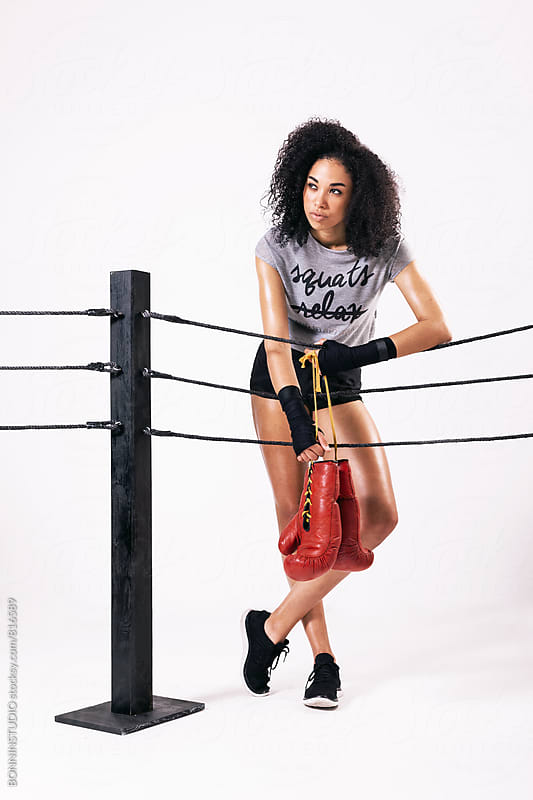 Woman wearing fashion sport clothes. Boxing. by BONNINSTUDIO for Stocksy United