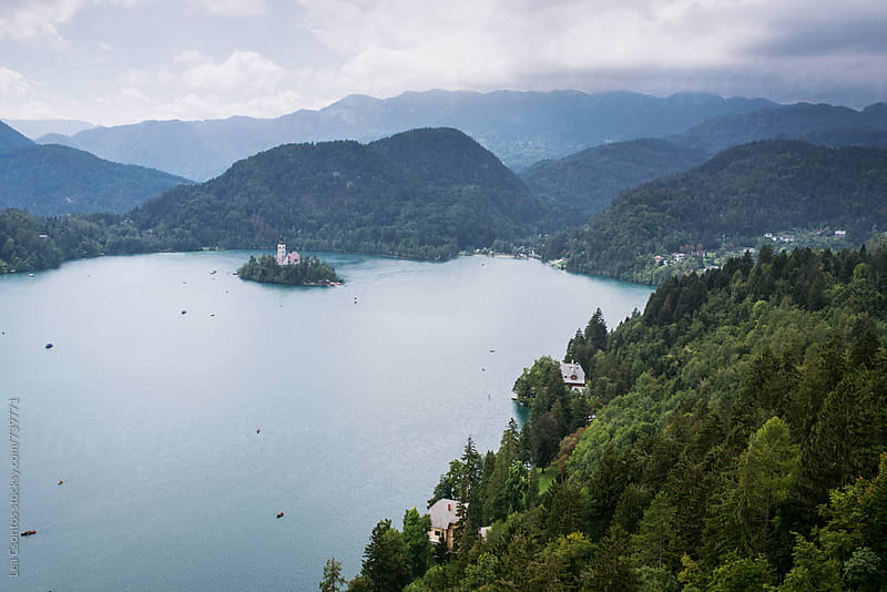 Lake Bled shot from Bled Castle by Lea Csontos for Stocksy United