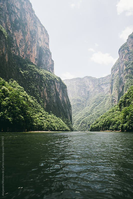 Scenic valley view of canyon and lake surrounded by vegetation in Chiapas, Mexico. by Alejandro Moreno de Carlos for Stocksy United