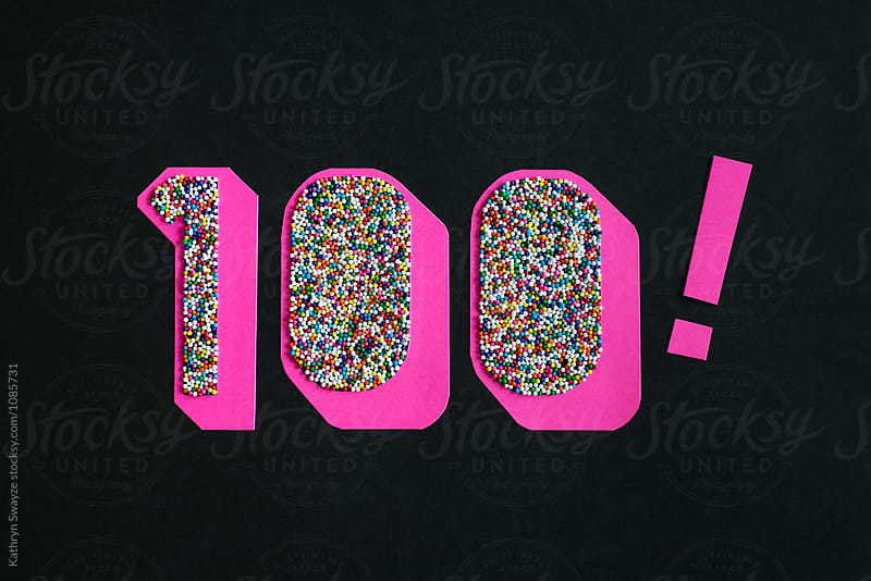 100! made from paper and nonpareils by Kathryn Swayze for Stocksy United