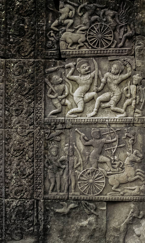 Ornament Battle of the wall. Angkor Wat. by Yury Goryanoy for Stocksy United