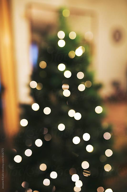 Decorated Christmas tree- bokeh by Jovana Rikalo for Stocksy United