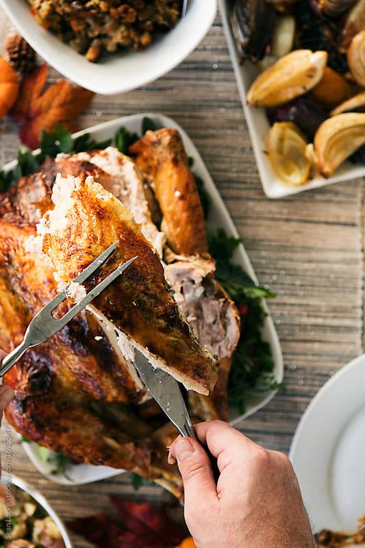 stock photo: carving turkey