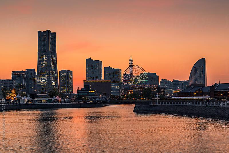 Yokohama Skyline at Sunset (Japan) by Tom Uhlenberg for Stocksy United