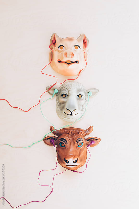 Three Farm Animal Friends listening to Music by Aila Images for Stocksy United
