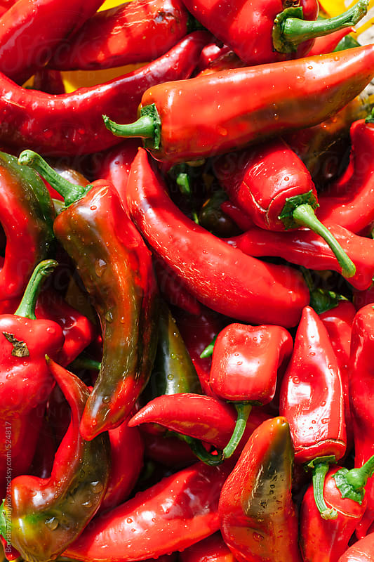 Fresh Red Pepper On The Market by Borislav Zhuykov for Stocksy United