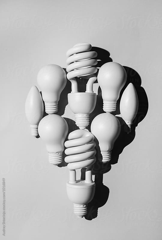 Organized bulb lights making one big bulb light. by Marko Milanovic for Stocksy United