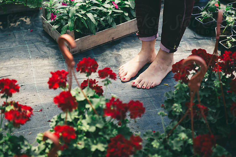 Woman's Feet Among Flowers by Lumina for Stocksy United