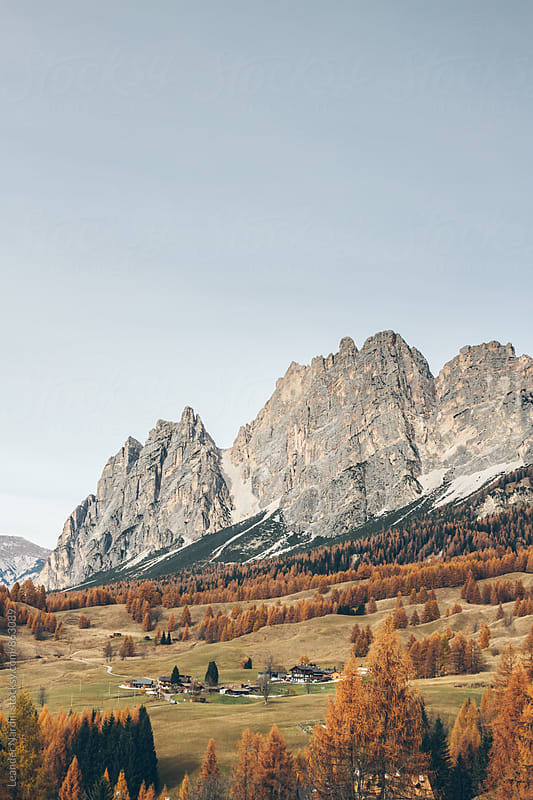 autumnal landscape in the italian alps - dolomites - cortina dámpezzo by Leander Nardin for Stocksy United