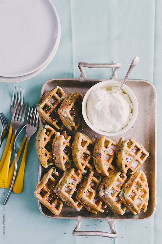 Funfetti Birthday Cake  Waffles by Cameron Whitman for Stocksy United