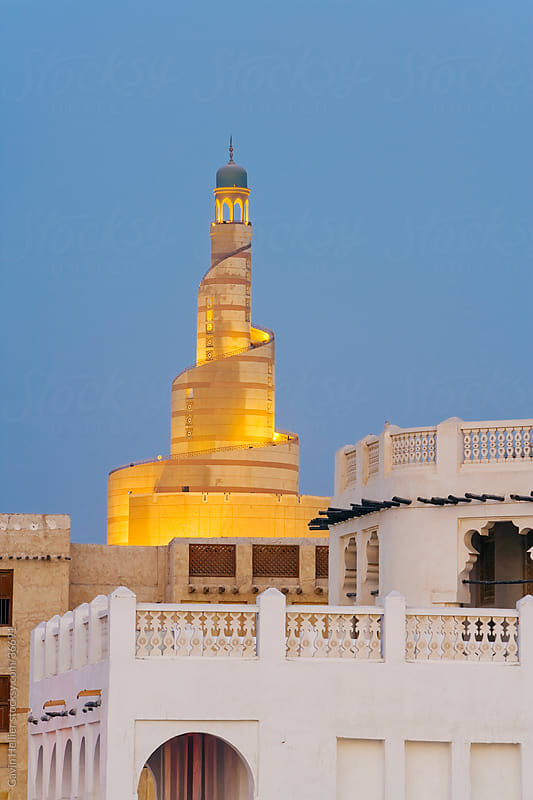 Qatar, Middle East, Arabian Peninsula, Doha, Spiral Mosque  by Gavin Hellier for Stocksy United