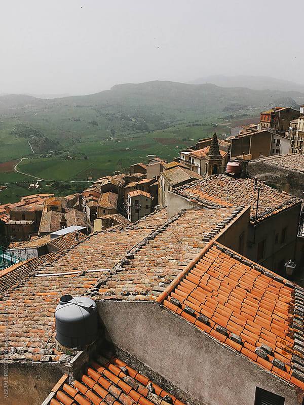 Rooftops of Gangi in Sicily Italy by Julien L. Balmer for Stocksy United