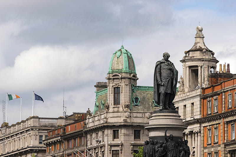 Dublin Cityscape with O'Connell Monument, Ireland by Tom Uhlenberg for Stocksy United