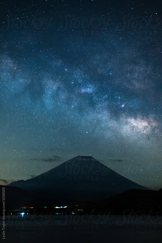 Milky Way Rising Over Mt Fuji by Leslie Taylor for Stocksy United