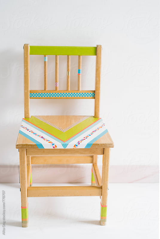 Revamped kid's chair with Japanese washi tapes by Alita Ong for Stocksy United