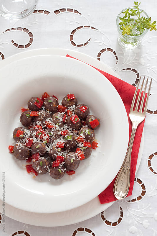 Cottage cheese gnocchi with red peppers by Federica Di Marcello for Stocksy United