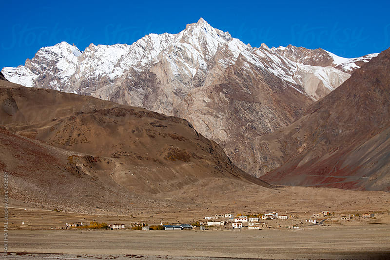 Small village  at the lap of mountain  in Ladakh by PARTHA PAL for Stocksy United