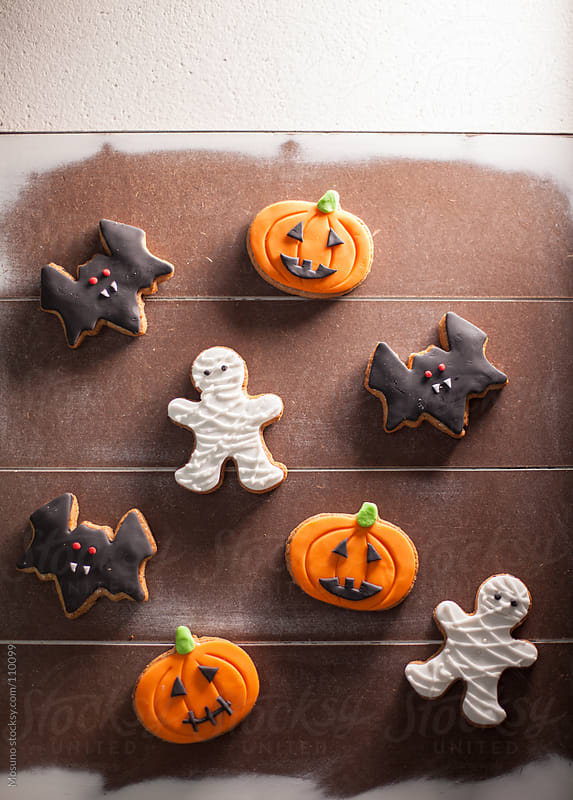 Halloween Cookies on a Wooden Table by Mosuno for Stocksy United