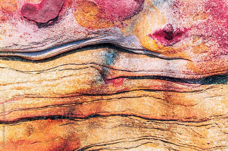 Colorful sandstone formations; grungy texture/background by Wizemark for Stocksy United