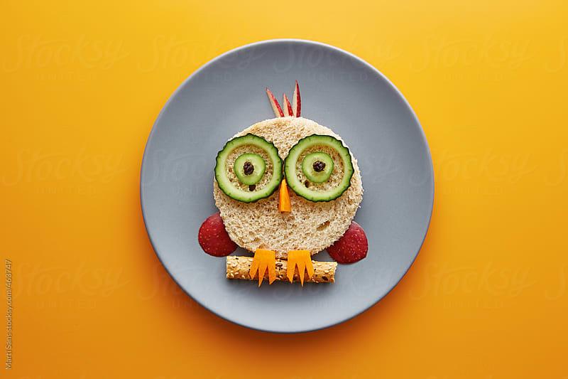 Food for kids - funny owl by Martí Sans for Stocksy United