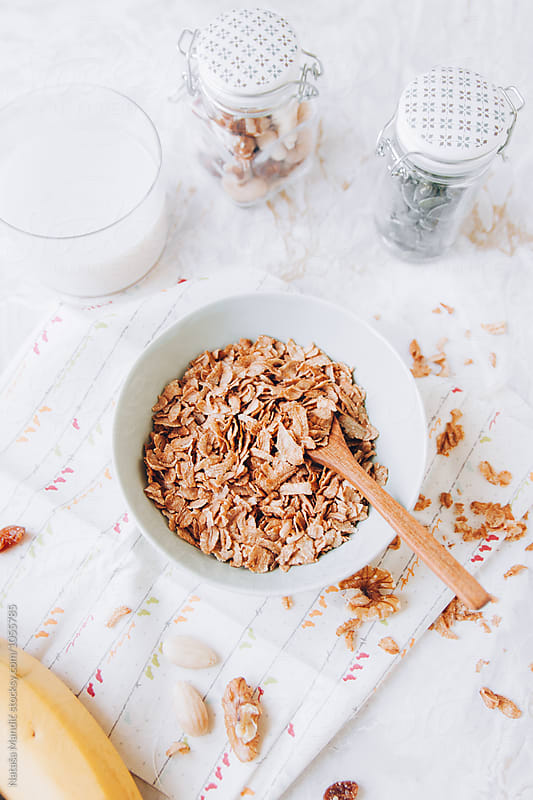 Spelt flakes in a bowl  by Nataša Mandić for Stocksy United
