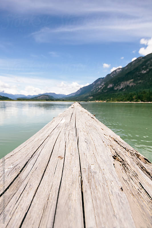 Floating log on a lake on summer with mountains by Alejandro Moreno de Carlos for Stocksy United