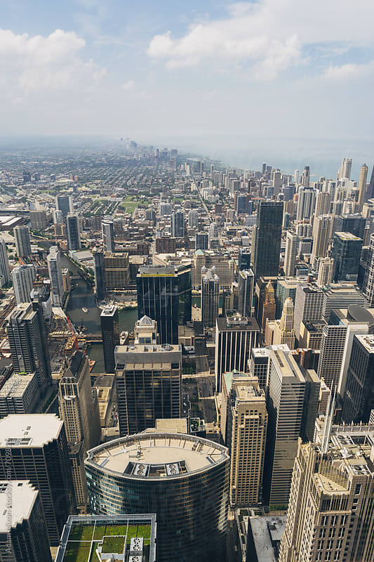 Highrise buildings in Chicago, viewed from above by Adam Nixon for Stocksy United