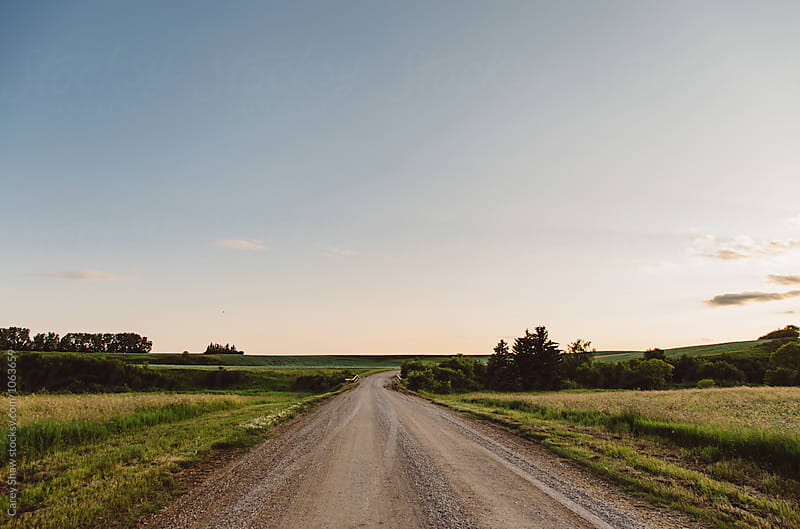 Gravel road through countryside at dusk by Carey Shaw for Stocksy United