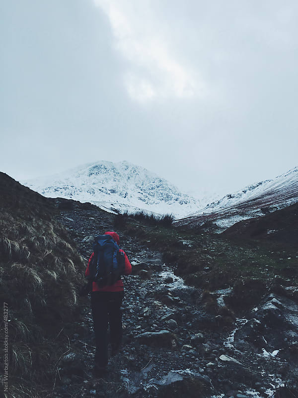 Hiking to the mountains by Neil Warburton for Stocksy United