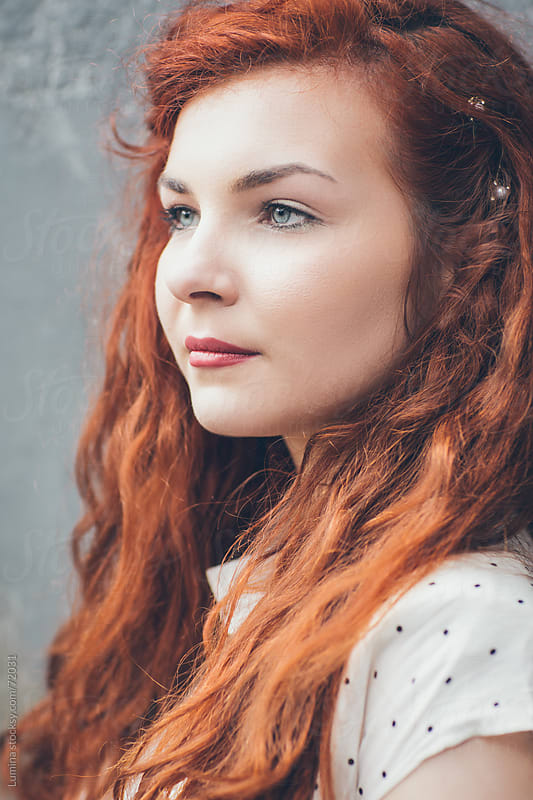 Portrait of a Beautiful Young Ginger Woman by Lumina for Stocksy United