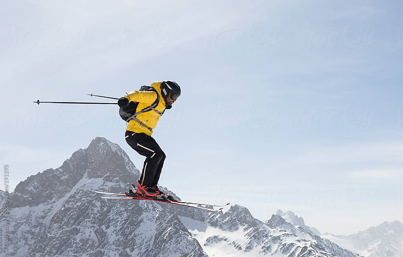 Skier jumping  by RG&B Images for Stocksy United