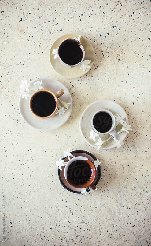Organic Java coffee in handmade ceramic tea cup by Nabi Tang for Stocksy United