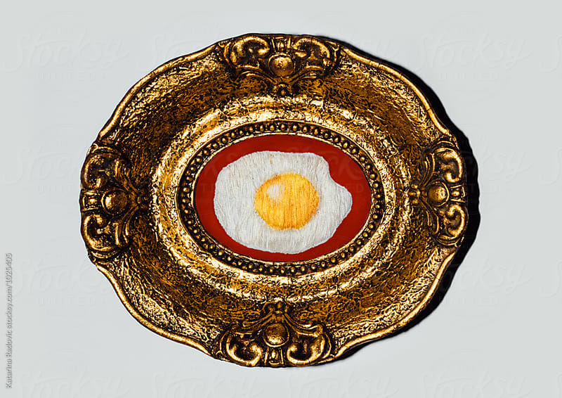 Framed Sunny Side Up Egg Embroidery by Katarina Radovic for Stocksy United
