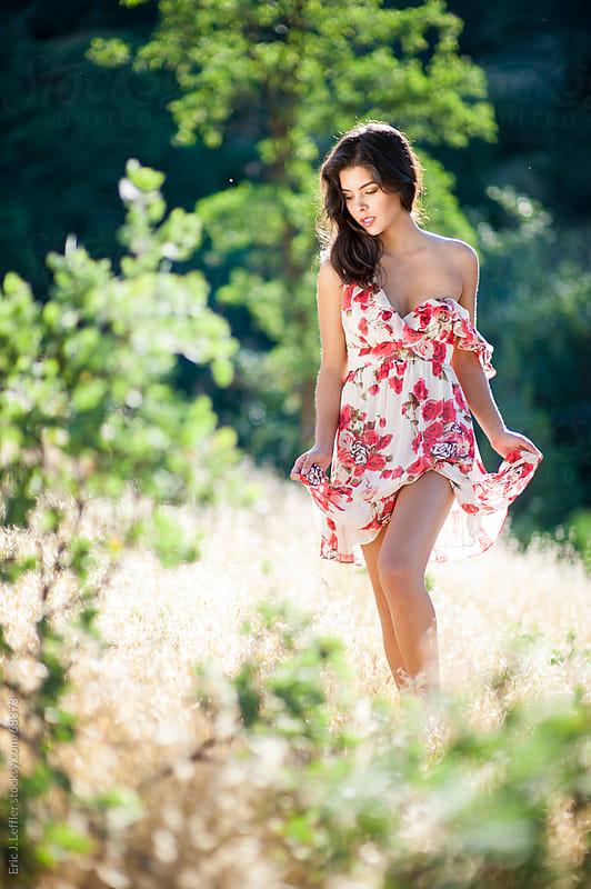 Woman in Field in Summer Dress by Eric J. Leffler for Stocksy United